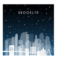 Winter night in brooklyn night city in flat style vector