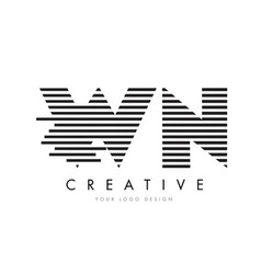 Wn w n zebra letter logo design with black and vector