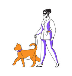 woman walking dog and listening to podcast happy vector image