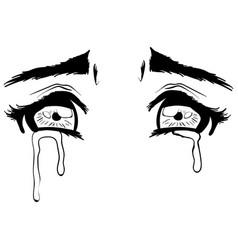 beautiful crying eyes sketch vector image