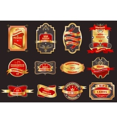 Golden retro labels emblems collection vector image vector image