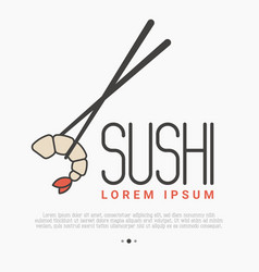 logo with shrimp and chopsticks for sushi bar vector image