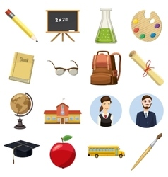 School icons set cartoon style vector image