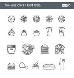 Set with thin line icons for Fast food vector image vector image