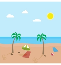 Tropic scene of sunny beach with different objects vector image vector image