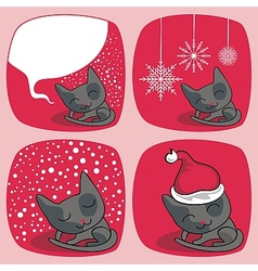 Cute Christmas Cats Set vector image vector image