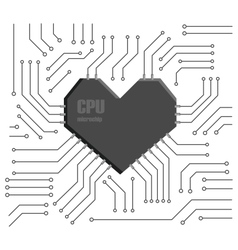 heart cpu vector image vector image