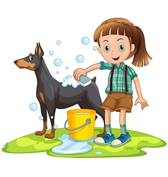 Little girl giving bath to pet dog vector image
