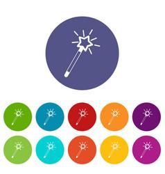 magic wand set icons vector image