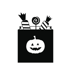 Package candy on halloween icon vector image