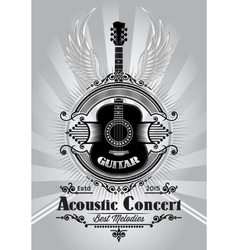 retro poster with a guitar for the concert vector image vector image