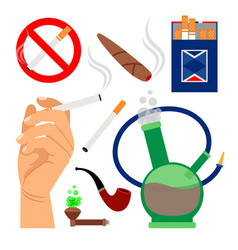 smoking tobacco icons set vector image