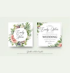 Wedding art trendy floral invitation card design vector