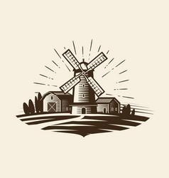 farm rural landscape logo or label agriculture vector image