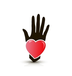 hand with heart icon vector image vector image