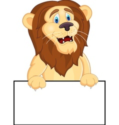 Printlion cartoon with blank sign vector image