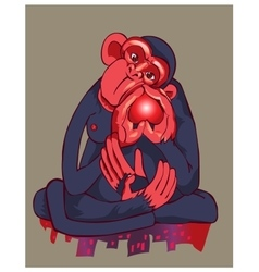 The monkey of blue color kotor holds heart in vector image vector image