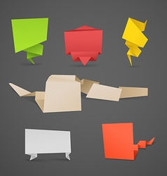 Colorful polygonal origami banners set vector image vector image