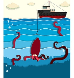 Giant octopus and fishing boat vector image