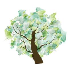 green summer paint textured art tree vector image