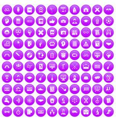 100 student icons set purple vector