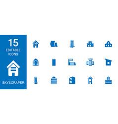 15 skyscraper icons vector