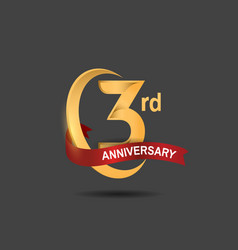 3 anniversary design logotype golden color vector