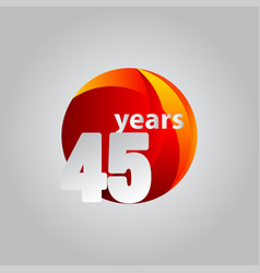 45 years anniversary red ball template design vector