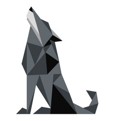 Abstract low poly wolf icon vector