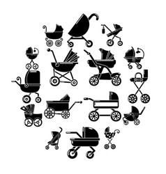 Baby carriage icons set simple style vector