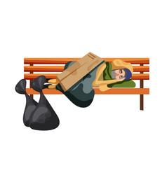 Beggar sleep on bench isolated on white background vector