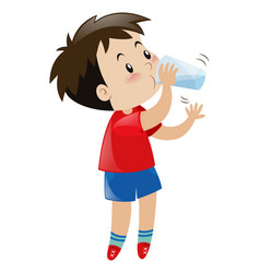Boy drinking water from glass vector