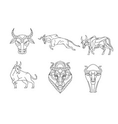Bull and cow line sign and symbol vector
