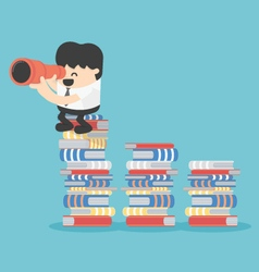business concept cartoon stands on book vector image