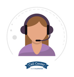 call center woman operator design vector image