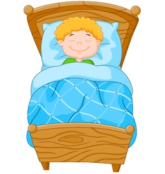 Cartoon little boy fell asleep vector