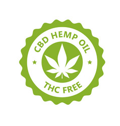 Cbd hamp oil label thc free icon marijuana oil vector