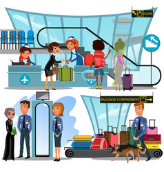 Check in airport with lady on counter and man vector