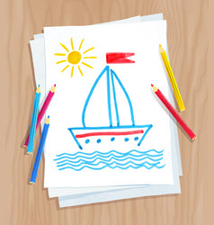 child drawing ship and see waves vector image