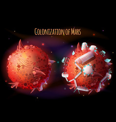 Colonization of mars concept vector