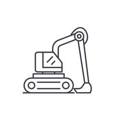 construction excavator line icon concept vector image