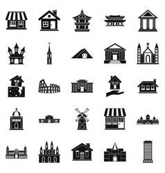Construction site icons set simple style vector