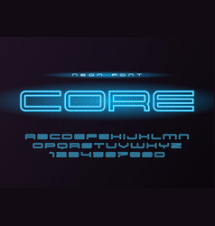 Core glowing neon futuristic font typeface vector