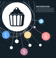 cupcake muffin icon with the background to the vector image