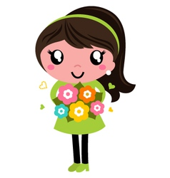 Cute Female with flowers isolated on white vector
