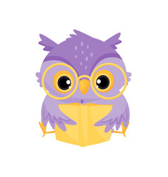 Cute purple wise owl bird reading a book school vector