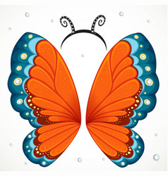Cute red butterfly wings and hoop with antennae vector