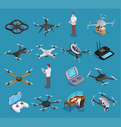 drones quadrocopters isometric set vector image