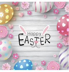 Easter day design eggs and flowers vector
