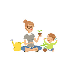Elementary teacher telling little boy about plants vector